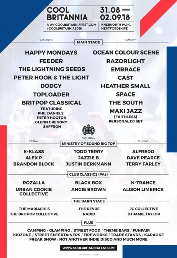 Cool Britannia 2018 Line Up Poster