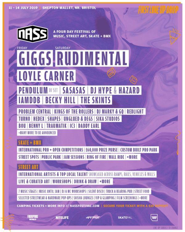 NASS Line Up Poster Giggs & Rudimental to headline