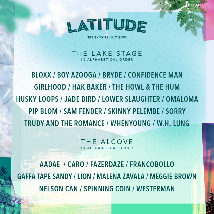 Latitude Festival 2018 - Lake Stage line up