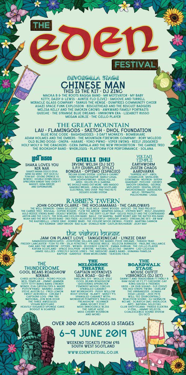 Eden Festival 2019 Line Up Poster
