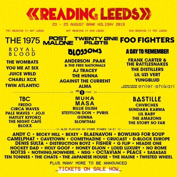 Reading and Leeds Festival Line Up