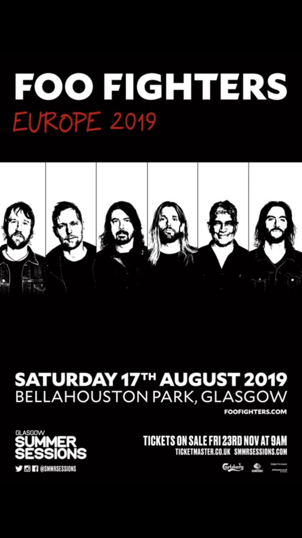 Glasgow Summer Sessions 2019 Line Up Poster - Foo Fighters