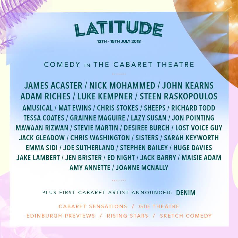 Latitude Festival 2018 - Comedy in the Caeret Theatre line up