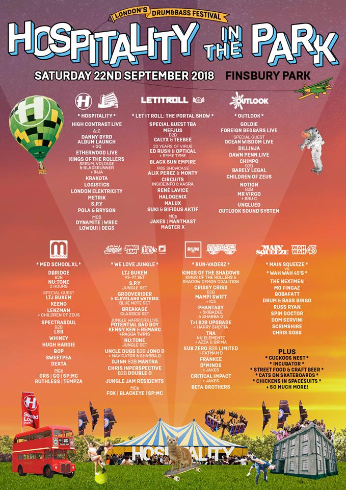 Hospitality in the Park 2018 Line Up