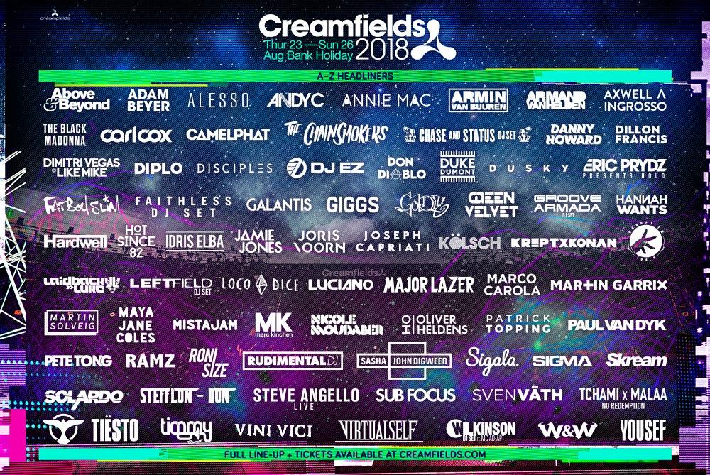 Creamfield 2018 line up