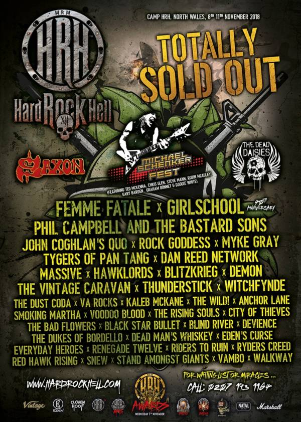 Hard Rock Hell 2018 Line Up Poster