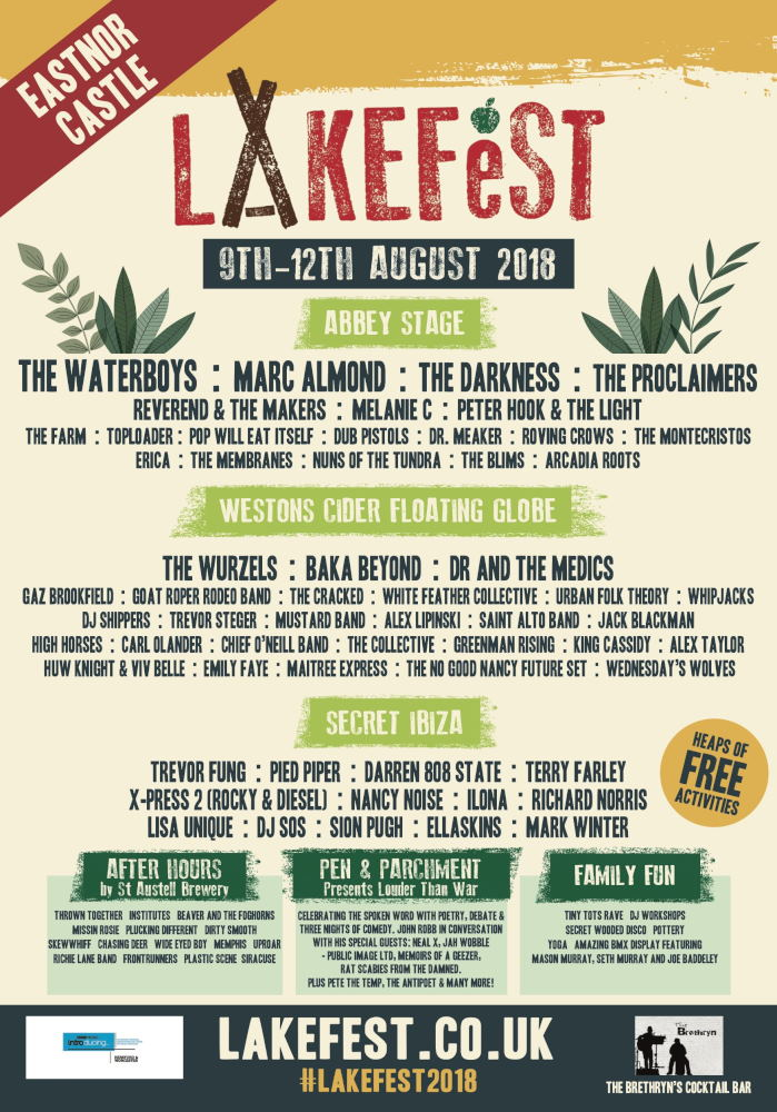 Lakefest 2018 Line Up