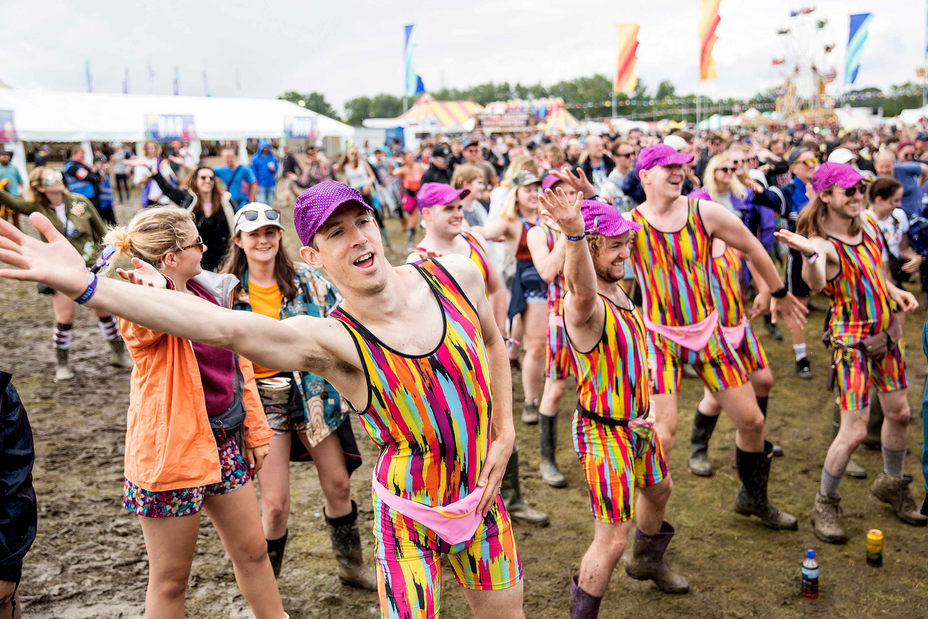 Crowd watching Mr Motivator on the Main Stage at Truck Festival 2017