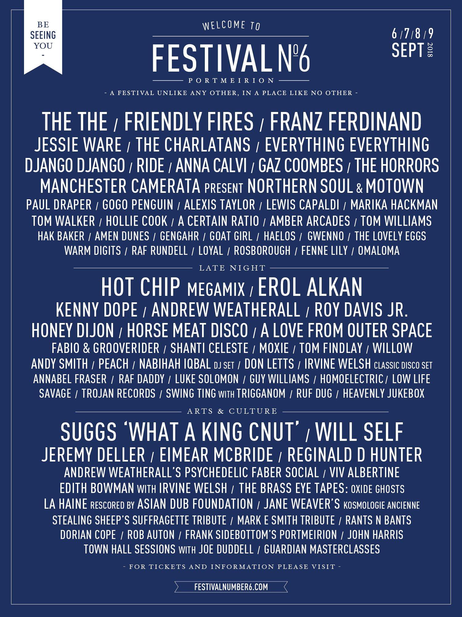 Festival No.6 2018 line up