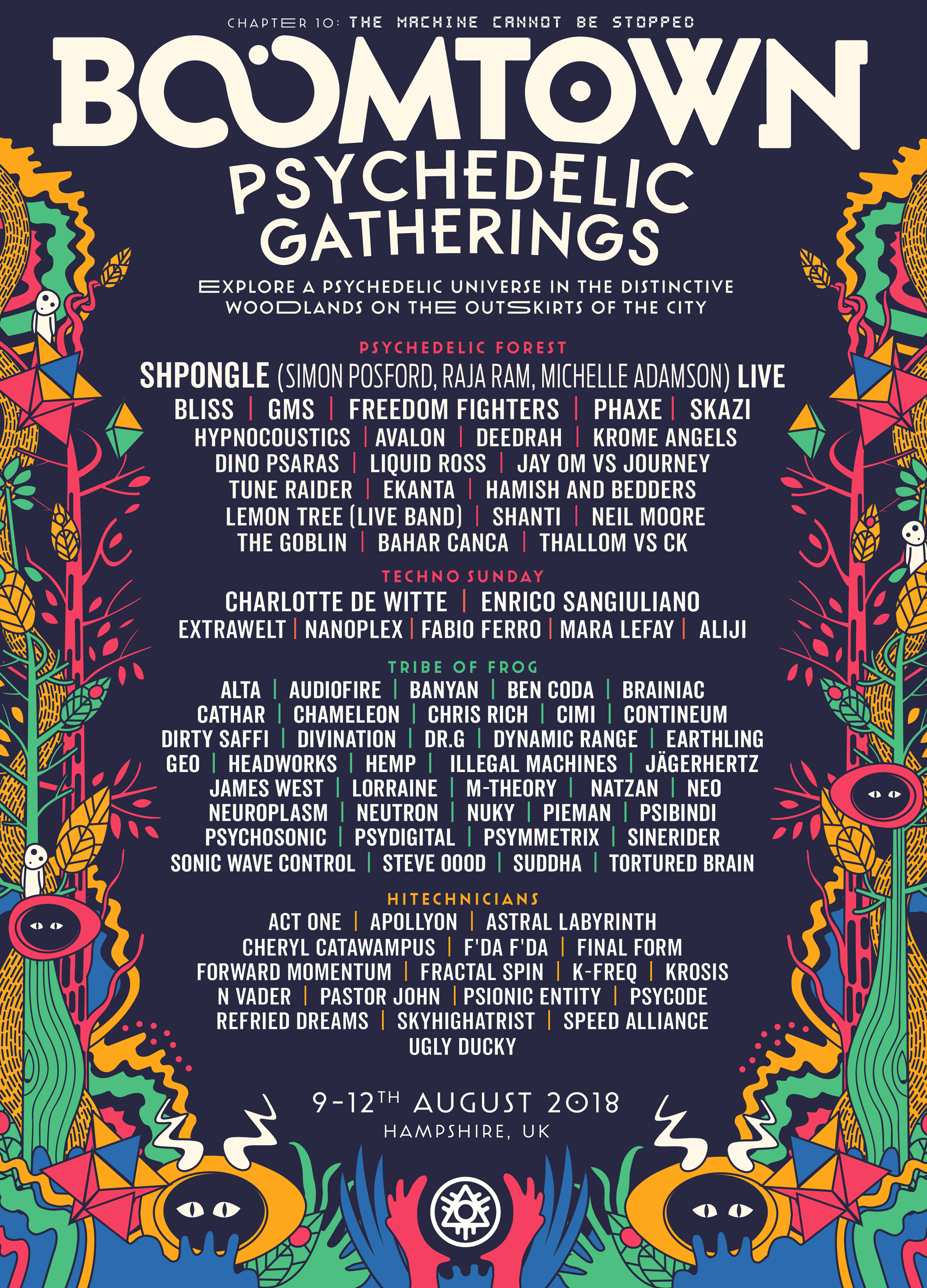 BoomTown 2018 Psychedelic Gatherings Line Up