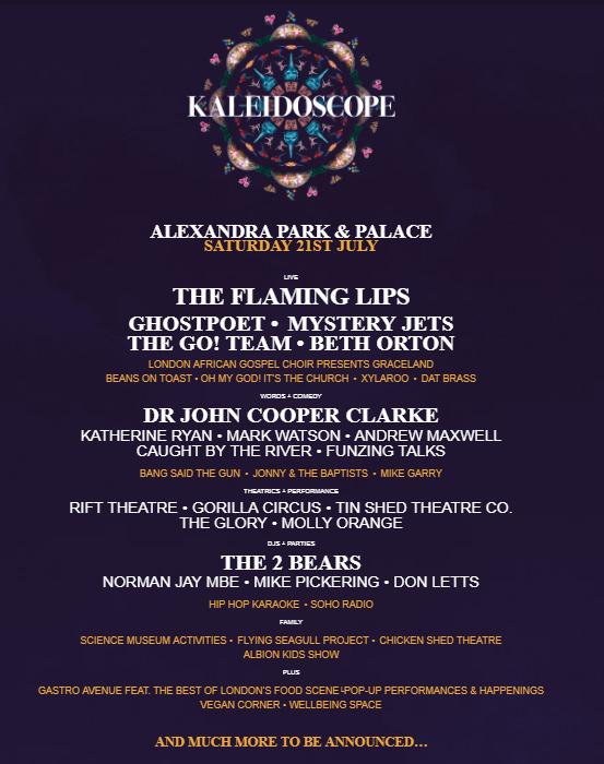 Kaleidoscope Festival 2018 line up