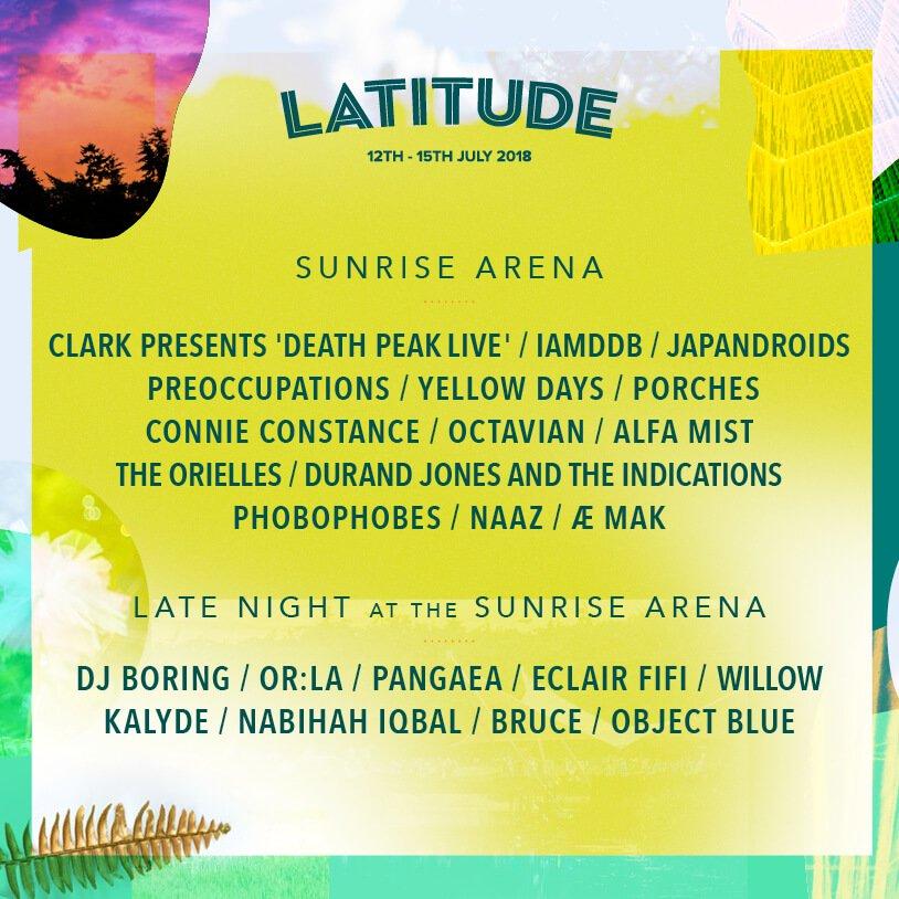Latitude Festival 2018 - Sunrise Arena line up